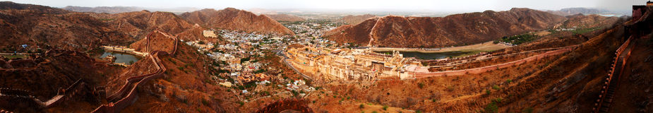 Amer fort complex panorama. A sweeping panorama of the Amer fort complex shot from the much higher up, Jaigarh fort. Located just outside Jaipur, these forts are stock photos