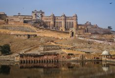 Amer Fort du lac de maota, Amer, Jaipur, Ràjasthàn, Inde Photo stock