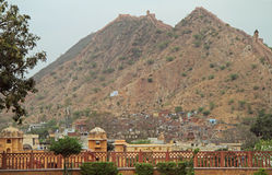 Amer Fort est attraction touristique principale dans la région de Jaipur Images libres de droits