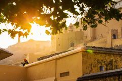 JAIPUR, INDIA - JANUARY 12, 2018: Sunset. Evening in Fort Amer. India