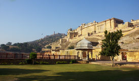 Amer Fort Garden. Amer Fort is located in Amer, a town with an area of 4 square kilometres located 11 kilometres from Jaipur, Rajasthan state, India. Located Stock Images