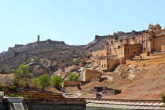 Amer fort landscape, amer town, outskirt Jaipur Rajasthan India. Amer fort also called amber palace built in 1592 AD by king Man Singh. the beautiful castle is Royalty Free Stock Image