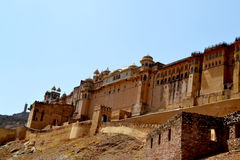 Amer fort landscape, amer town, outskirt Jaipur Rajasthan India. Amer fort also called amber palace built in 1592 AD by king Man Singh. the beautiful castle is Royalty Free Stock Photo