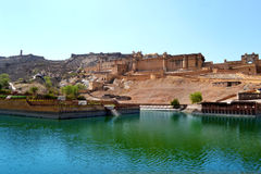 Amer fort landscape, amer town, outskirt Jaipur Rajasthan India. Amer fort also called amber palace built in 1592 AD by king Man Singh. the beautiful castle is Stock Image