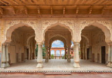 Amer Fort is located in Amer, Rajasthan, India. Hall with columns of Sattais Katcheri at Amer Fort is located in Amer, a town with an area of 4 sq. kilometres stock image