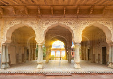 Amer Fort  is located in Amer, Rajasthan, India. Hall with columns of Sattais Katcheri at Amer Fort  is located in Amer, a town with an area of 4 sq. kilometres Stock Images