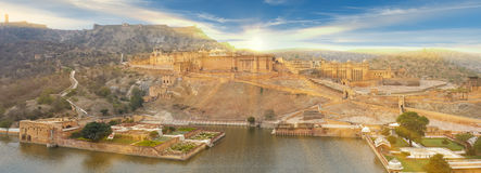 Amer Fort is located in Amer, Rajasthan, India. Amer Fort is located in Amer, a town with an area of 4 sq. kilometres, not far from Jaipur, Rajasthan state royalty free stock images