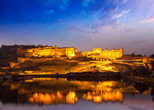 Amer Fort at night in twilight. Jaipur, Rajastan, Royalty Free Stock Images