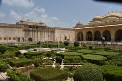 Amer Rajput Fort arkitektur, bärnsten, Jaipur, Rajasthan royaltyfria foton