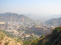 Amer Town and Amer Palace from Jaigarh Fort, Jaipur, Rajasthan, India Stock Photos