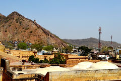 Amer town in the foothills of aravali mountains, outskirt Jaipur Rajasthan India. Amer town has historic importance. It is spread in a small area of 4square Stock Photos