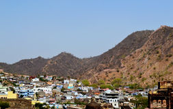 Amer town in the foothills of aravali mountains, outskirt Jaipur Rajasthan India. Amer town has historic importance. It is spread in a small area of 4square Stock Photography