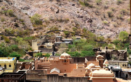 Amer town in the foothills of aravali mountains, outskirt Jaipur Rajasthan India. Amer town has historic importance. It is spread in a small area of 4square Royalty Free Stock Image