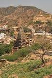Amer village from Amber palace, Jaipur, India. Amer village and Hindu Temple viewed from Amer Palace (Amber Palace) near Jaipur Stock Image