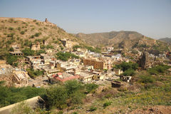 Amer village from Amber palace, Jaipur, India. Royalty Free Stock Image