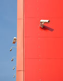 �amera surveillance. Surveillance around the perimeter of the building with video cameras Stock Photos
