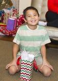 An Amerasian boy smiling at Christmas Royalty Free Stock Photos