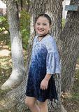 Amerasian girl posing in the trees in Oklahoma City, Oklahoma. Pictured is a 9 year-old Amerasian girl posing in a tree in Oklahoma City, Oklahoma.  She will Stock Photo