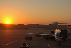 Amercan Airlines Jumbo Jet at Sunset. Amercan airlines jet starting at sunset. there are always news about big companies and the business of flying. For example royalty free stock photo