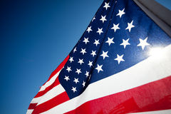 Amereican Flag display commemorating holiday Royalty Free Stock Image