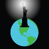 America. The statue shines by a torch all planet Stock Images