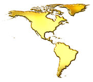 America 3d Golden Map. Isolated in white Royalty Free Stock Image
