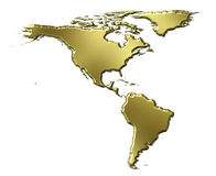 America 3d Golden Map. Isolated in white Stock Photo