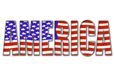 America. The word AMERICA in colors of the US flag Royalty Free Stock Photos