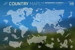 America, Asia, Africa, Europe, Australia, Canada, USA, Russia, China, Mexico, Japan Vector Maps. Flat vector maps collection with infographic elements vector illustration
