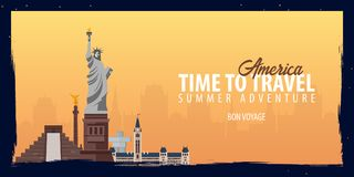 America banner. Time to Travel. Journey, trip and vacation. Vector flat illustration. America banner. Time to Travel. Journey, trip and vacation. Vector flat Stock Photography