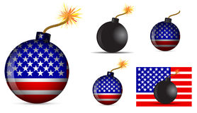 America bomb. Set of america bomb isolated on white background Royalty Free Stock Photography