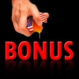 America Bonus concept on black background Stock Photos