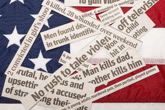 America Buried In Violence. American Flag Buried In Violence Headlines Stock Images