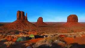 Monument Valley Sunset Panorama, Navajo Indian Tribal Park, USA Royalty Free Stock Photos