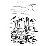 America with cacti and mountains. Sketch hand drawn of the desert of America with cacti and mountains. Prairie landscape. Vector illustration stock illustration