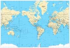 America Centered World Map Stock Image