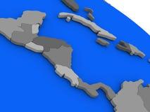 America Central en modelo de tierra político Fotografía de archivo libre de regalías