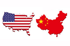 America and China flag map. Royalty Free Stock Image