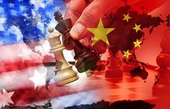 America China Trade War Tariffs Conflict. A conceptual photo illustration exploring the American China trade war and south China sea tension stock photos