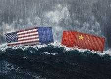 USA and China trade war. America and chinese flags cargo containers on rainy sea. Economic war at the gate. Dark cloudy weather