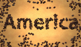 America Coffee Bean on Old Paper Royalty Free Stock Photo