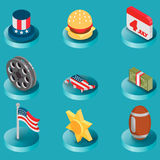 America color isometric icons Stock Photo
