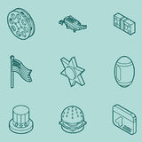 America color outline isometric icons Stock Photography