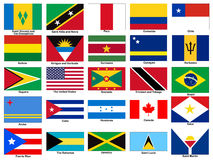America continent Flags Vector Set Stock Photography