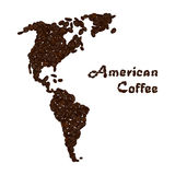 America continent made from coffee beans. American coffee lettering. Royalty Free Stock Photo