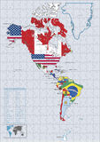 America Continental country flags and map Puzzle Stock Image