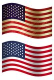 America 3D country flag, two styles vector illustration