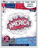 America. 3D vector pop art speech bubble. America. Explosion in comic style with lettering and realistic puffs smoke. 3D vector pop art speech bubble Stock Images