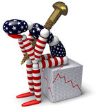 America in Decline. 3D figure wrapped in an American flag with a running through its torso while sitting on a cube depicting economic decline stock illustration