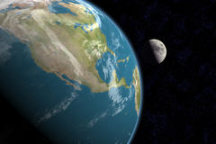 America do Norte e lua, com estrelas Fotografia de Stock Royalty Free